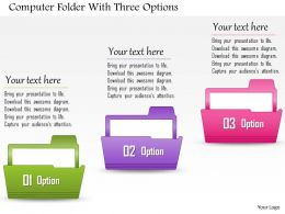 0814 Business Consulting Computer Folder With Three Options Powerpoint Slide Template