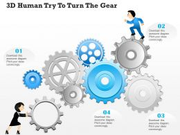 0814 Business Consulting Diagram 3d Human Try To Turn The Gear Powerpoint Slide Template