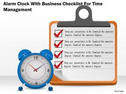 0814 Business Consulting Diagram Alarm Clock With Business Checklist For Time Management Ppt Slide Template
