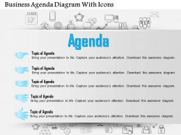 0814 Business Consulting Diagram Business Agenda Diagram With Icons Powerpoint Slide Template