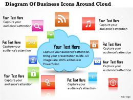 0814 Business Consulting Diagram Diagram Of Business Icons Around Cloud Powerpoint Slide Template