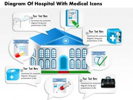 0814 Business Consulting Diagram Diagram Of Hospital With Medical Icons Powerpoint Slide Template