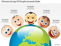 0814 Business Consulting Diagram Diverse Group Of People Around Globe Powerpoint Slide Template