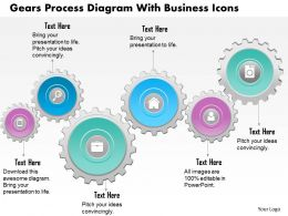 0814 Business Consulting Diagram Gears Process Diagram With Business Icons Powerpoint Slide Template