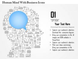 0814 Business Consulting Diagram Human Mind With Business Icons Powerpoint Slide Template