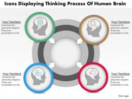 0814 Business Consulting Diagram Icons Displaying Thinking Process Of Human Brain Powerpoint Slide Template