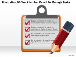 0814 Business Consulting Diagram Illustration Of Checklist And Pencil To Manage Tasks Powerpoint Slide Template