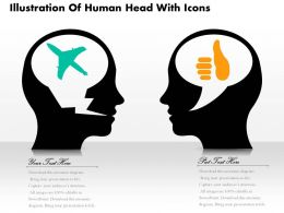 0814 Business consulting Diagram Illustration Of Human Head With Icons Powerpoint Slide Template