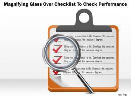 0814 Business consulting Diagram Magnifying Glass Over Checklist To Check Performance Powerpoint Slide Template