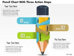 0814 Business consulting Diagram Pencil Chart With Three Action Steps Powerpoint Slide Template