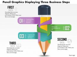 0814 Business consulting Diagram Pencil Graphics Displaying Three Business Steps Powerpoint Slide Template