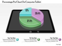 0814 Business consulting Diagram Percentage Pie Chart On Computer Tablet Powerpoint Slide Template
