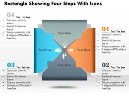 0814 Business consulting Diagram Rectangle Showing Four Steps With Icons Powerpoint Slide Template