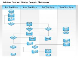 0814 Business consulting Diagram Swimlane Flowchart Showing Computer Maintenance Powerpoint Slide Template