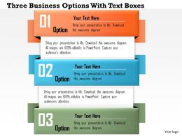 0814 Business consulting Diagram Three Business Options With Text Boxes Powerpoint Slide Template