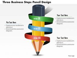 0814 Business consulting Diagram Three Business Steps Pencil Design Powerpoint Slide Template