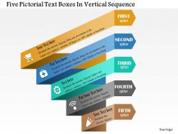 0814 Business Consulting Five Pictorial Text Boxes In Vertical Sequence Powerpoint Slide Template