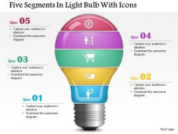 0814 Business Consulting Five Segments In Light Bulb With Icons PowerPoint Slide Template