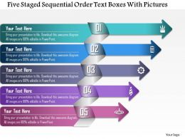 0814 Business Consulting Five Staged Squential Order Text Boxes With Pictures Powerpoint Slide Template