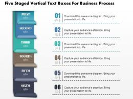 0814 Business Consulting Five Staged Vertical Text Boxes For Business Process Powerpoint Slide Template