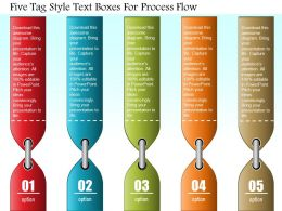 0814 Business Consulting Five Tag Style Text Boxes For Process Flow Powerpoint Slide Template