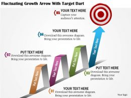 0814 Business Consulting Fluctuating Growth Arrow With Target Dart Diagram Powerpoint Slide Template