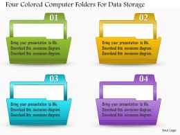 0814 Business Consulting Four Colored Computer Folders For Data Storage Powerpoint Slide Template
