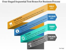 0814 Business Consulting Four Staged Sequential Text Boxes For Business Process Powerpoint Slide Template