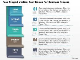 0814 Business Consulting Four Staged Vertical Text Boxes For Business Process Powerpoint Slide Template
