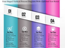 0814 Business Consulting Four Staged Verticel Process Diagram With Optional Text Boxes Ppt Slide Template
