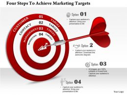 0814 Business Consulting Four Steps To Achieve Marketing Targets PowerPoint Slide Template