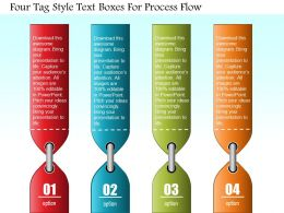 0814 Business Consulting Four Tag Style Text Boxes For Process Flow Powerpoint Slide Template