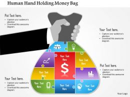 0814 Business Consulting Human Hand Holding Money Bag PowerPoint Slide Template