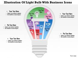 0814 Business Consulting Illustration Of Light Bulb With Business Icons PowerPoint Slide Template
