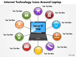 0814 Business Consulting Internet Technology Icons Around Laptop PowerPoint Slide Template