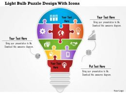 0814 Business Consulting Light Bulb Puzzle Design With Icons PowerPoint Slide Template
