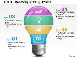 0814 Business Consulting Light Bulb Showing Four Steps Process PowerPoint Slide Template