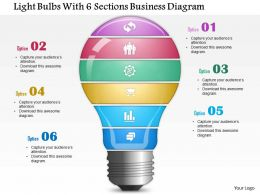 0814 Business Consulting Light Bulbs With 6 Sections Business Diagram PowerPoint Slide Template