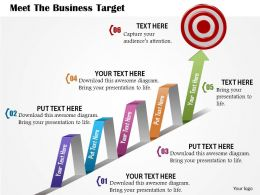0814 Business Consulting Meet The Business Target With Growth Arrow And Dart Powerpoint Slide Template