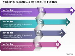 0814 Business Consulting Six Staged Sequential Text Boxes For Business Powerpoint Slide Template