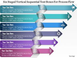 0814 Business Consulting Six Staged Vertical Sequential Text Boxes For Process Flow Ppt Slide Template