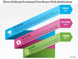 0814 Business Consulting Three Different Positioned Text Boxes With Multicolor Powerpoint Slide Template