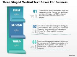 0814 Business Consulting Three Staged Vertical Text Boxes For Business Powerpoint Slide Template