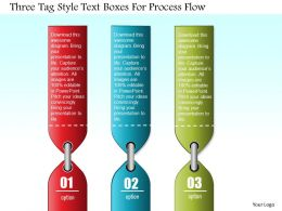 0814 Business Consulting Three Tag Style Text Boxes For Process Flow Powerpoint Slide Template