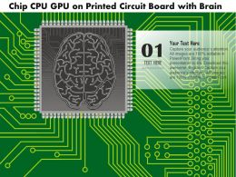 0814 Chip CPU GPU On A Printed Circuit Board With A Brain Embedded On Microprocessor Ppt Slides