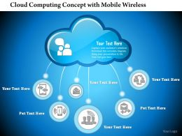 0814 Cloud Computing Concept With Mobile Wireless Email Device Connected To The Cloud Ppt Slides