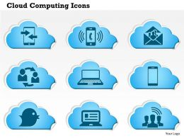 0814 Cloud Computing Icons Phone Ringing Email Social Laptop Tweet Communication Ppt Slides