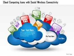 0814 Cloud Computing Icons With Social Wireless Connectivity And Different Technologies Ppt Slides