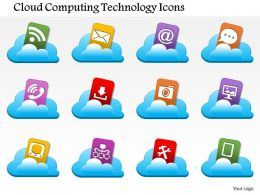 0814 Cloud Computing Technology Icons Coming Out Of A Cloud Image Ppt Slides