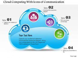 0814 Cloud Computing With Icons Of Communication Mobile Device Inside Ppt Slides